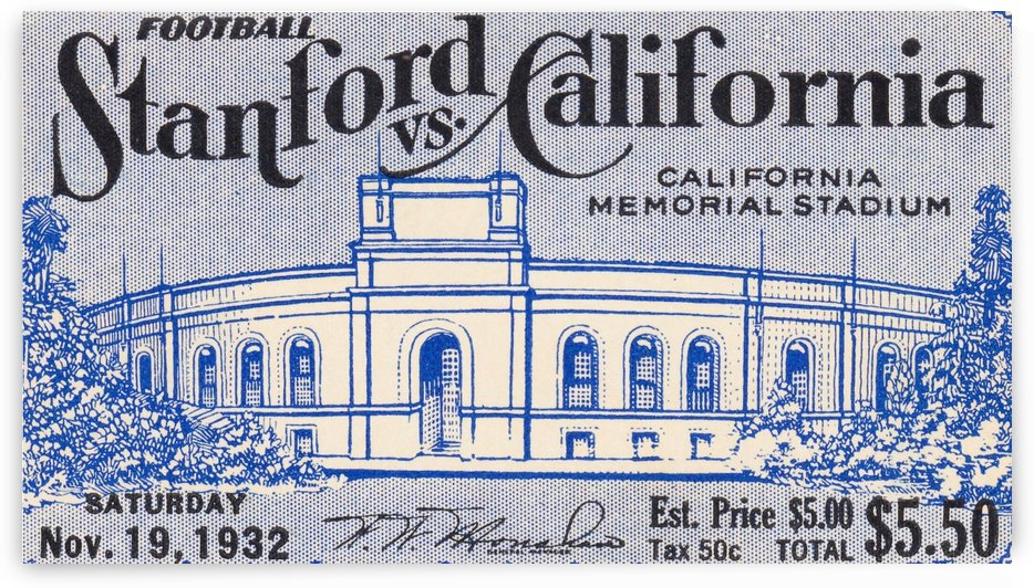 Cal Bears Football Ticket Stub Art Poster by Row One Brand