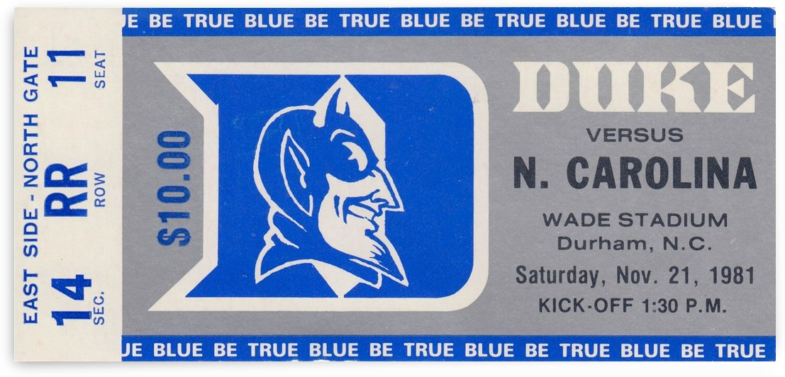 1981_College_Football_Duke vs. North Carolina_Wade Stadium_Duke University Wall Art by Row One Brand