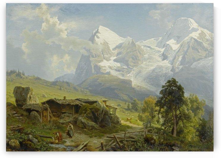 Blick von der Wengerenalp auf Eiger und Monch by August Wilhelm Leu