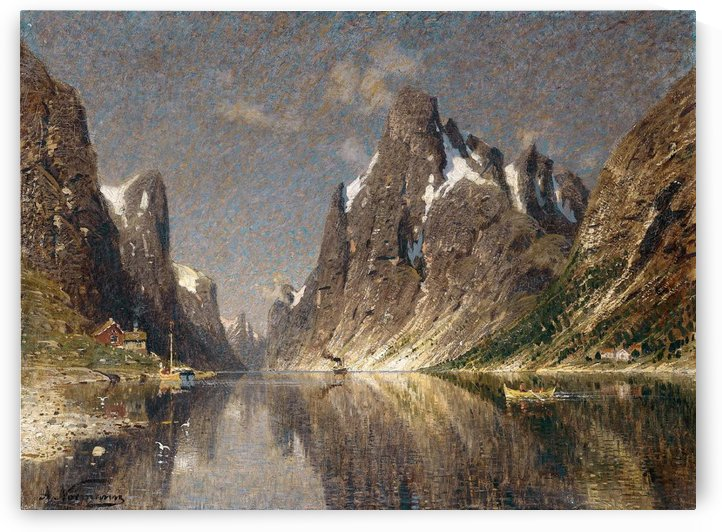 Norwegische Fjordlandschaft by August Wilhelm Leu