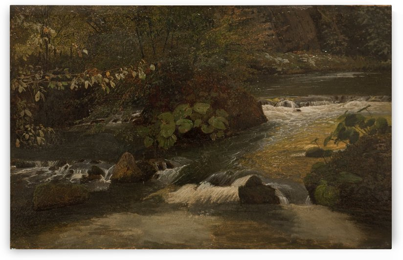 Landscape on a river by August Wilhelm Leu