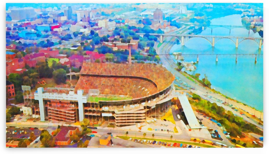 Tennessee Football Mixed Media Watercolor Painting_Tennessee Football Art_College Sports Stadium Art by Row One Brand