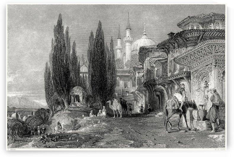 Emir Sultan mosque, Bursa by Thomas Allom