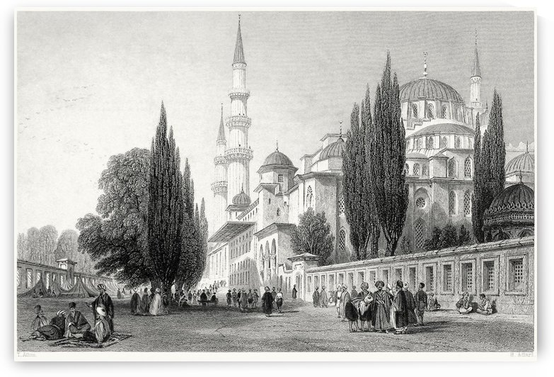 Outside mosque by Thomas Allom