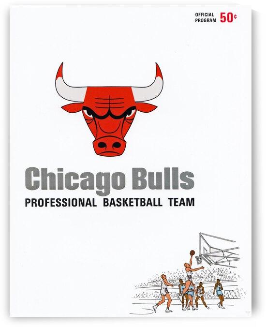 1967 Chicago Bulls Inaugural Season Program Cover Art Reproduction Wood Print by Row One Brand