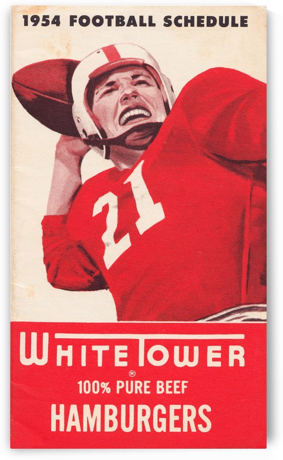 1954 White Tower Football Schedule Poster by Row One Brand