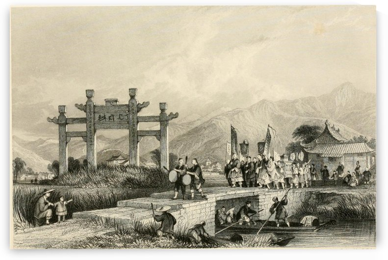 Scene in the Suburbs of Ting-hae by Thomas Allom