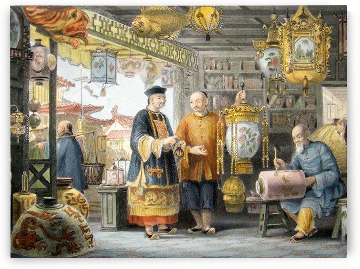 China 1843 showroom of a lantern merchant at peking by Thomas Allom