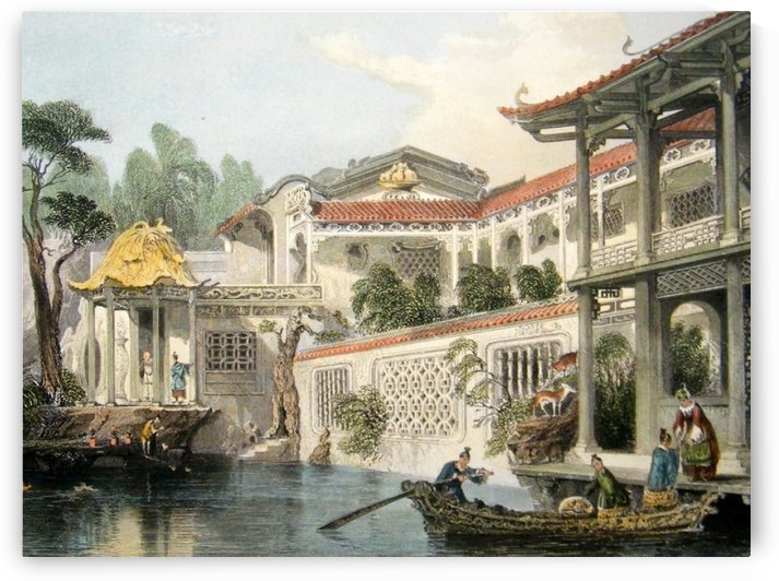 House of Conseequa, Chinese Merchant, Canton by Thomas Allom