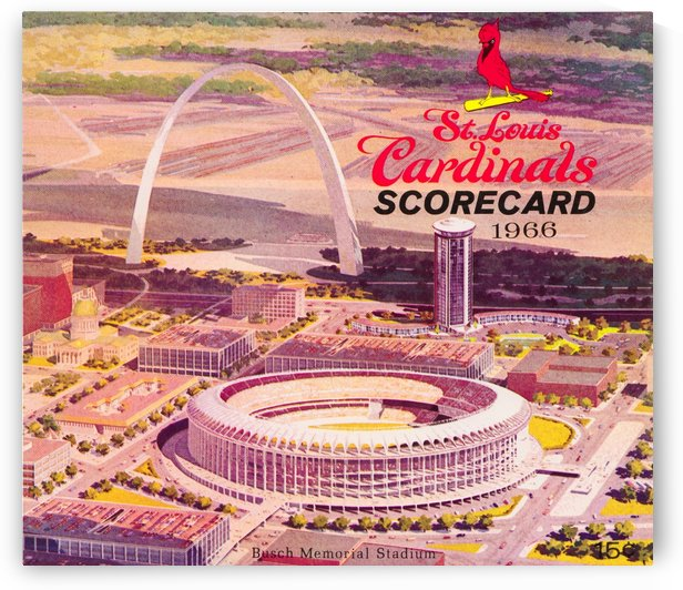 1966 St. Louis Cardinals Opening Game New Busch Stadium Scorecard Art Reproduction Print by Row One Brand