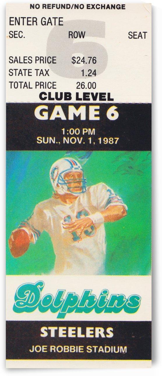 1987 Miami Dolphins vs. Pittsburgh Steelers Joe Robbie Stadium Ticket Stub Poster by Row One Brand
