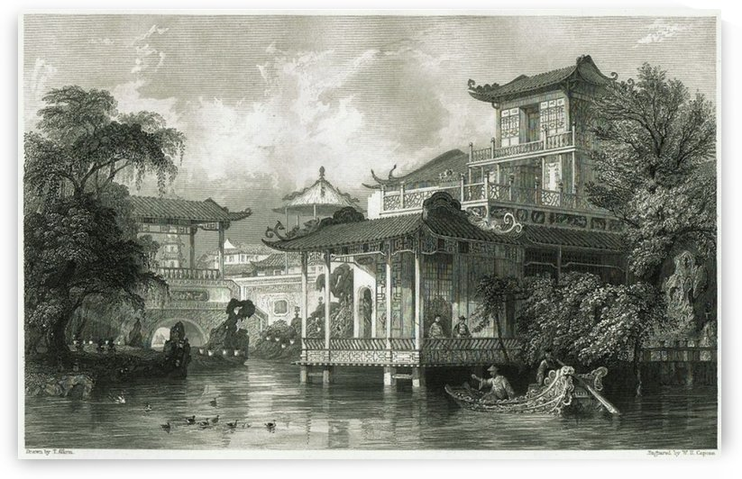Antique Etching with Chinese Scene in Canton by Thomas Allom