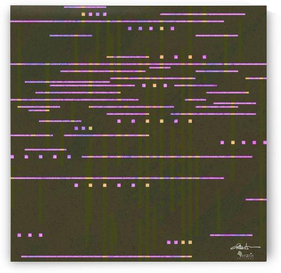 Data Stream in Fuschia & Umber 1x1 by Veratis Editions