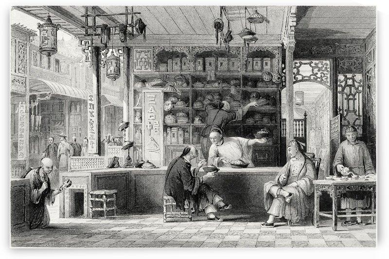 Cap-vender's shop, Canton by Thomas Allom