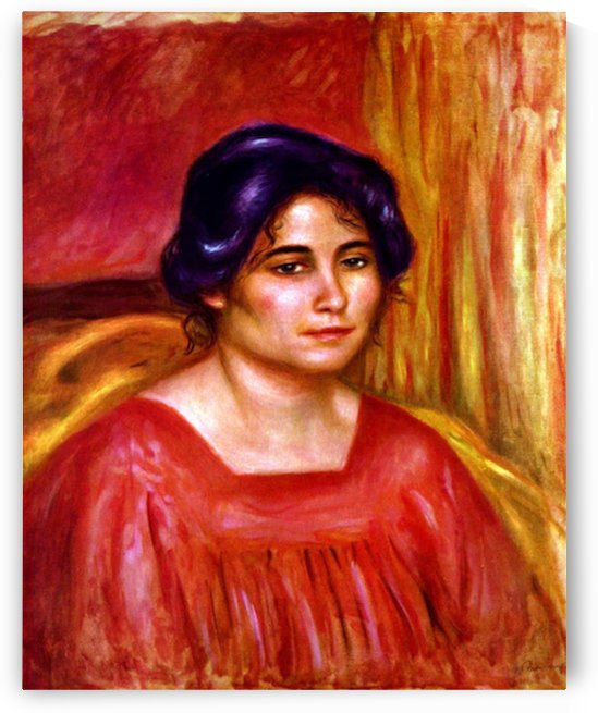 Gabrielle with red blouse by Renoir by Renoir