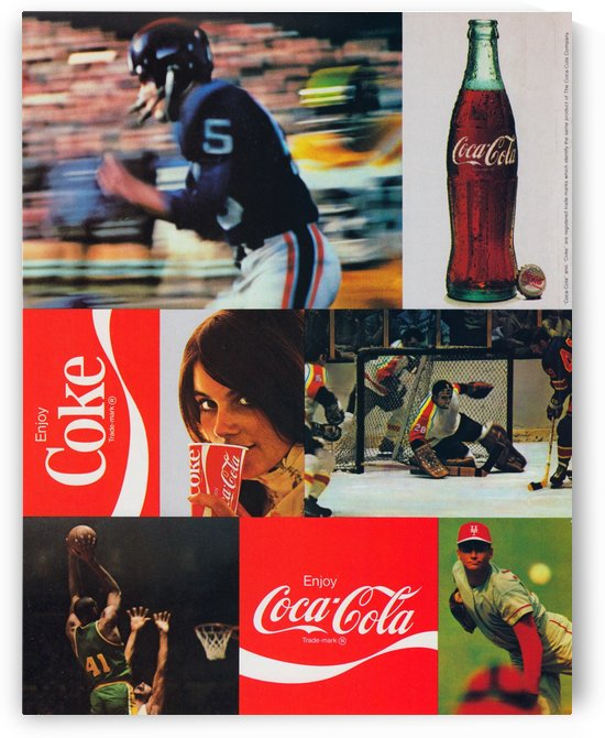 1973 Coke Sports Ad Poster_Retro Ad Reproduction Poster by Row One Brand