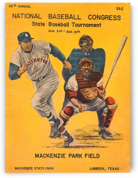 1957_National Baseball Congress_State Baseball Tournament_Mackenzie Park Field_Lubbock Texas Poster Art by Row One Brand
