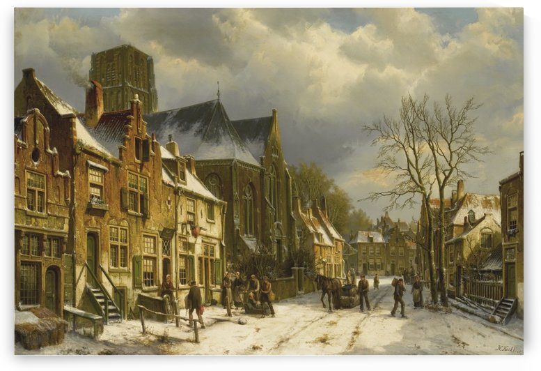 Winter streetscene by Willem Koekkoek