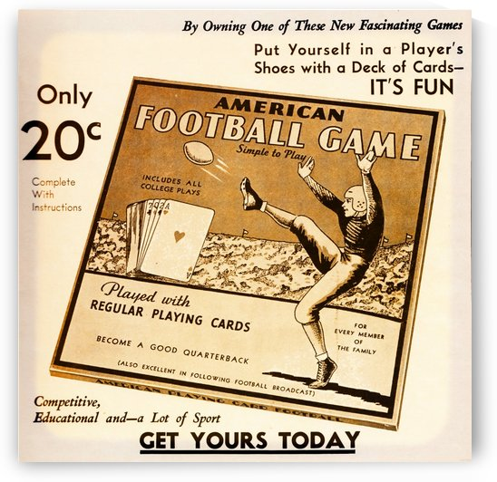 American Football Game Playing Card Game Ad (1935) by Row One Brand