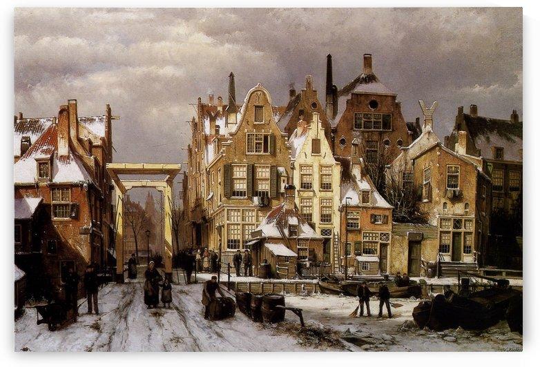 Winter city view by Willem Koekkoek