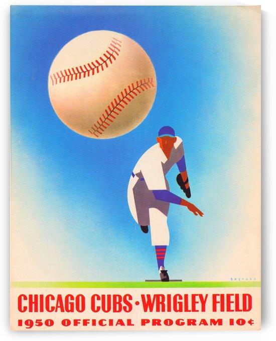 1950 Chicago Cubs Program_Wrigley Field_Otis Shepard Illustrator_Baseball Poster by Row One Brand