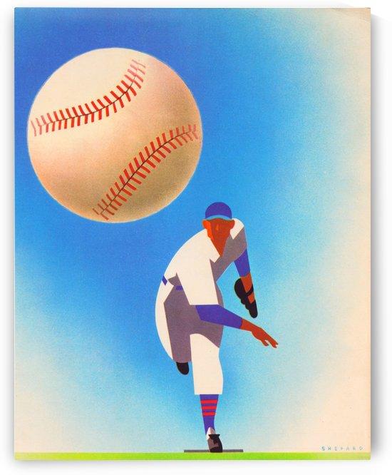 Otis Shepard Reproduction Vintage Baseball Art_Baseball Pitcher Poster by Row One Brand