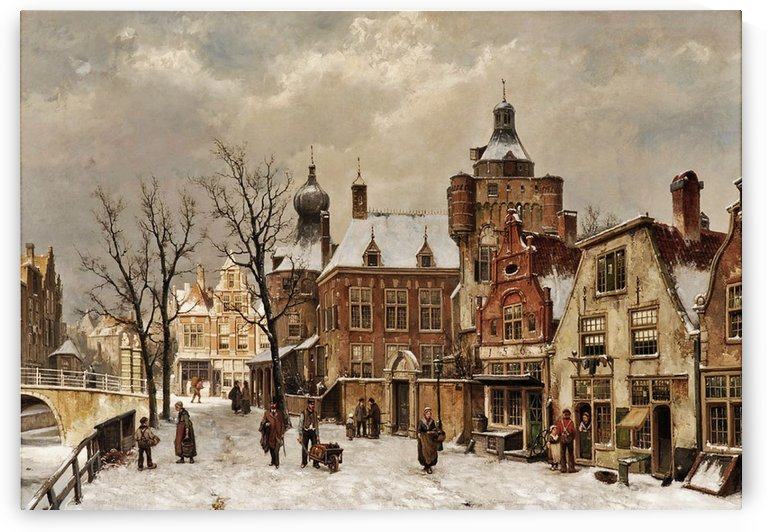 Hollandische Stadtansicht im Winter by Willem Koekkoek