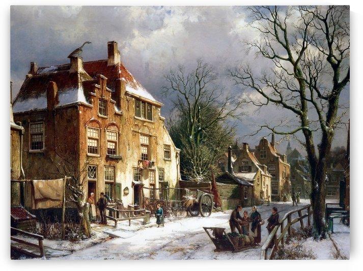 Winter in town by Willem Koekkoek