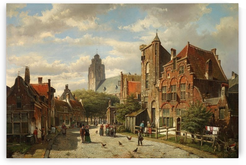 Figures conversing in the streets of a Dutch town by Willem Koekkoek