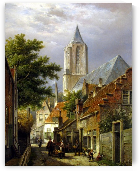 Figures Beside a Baker's Cart with Church Beyond by Willem Koekkoek