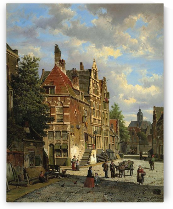 Dutch town scene with figures by Willem Koekkoek