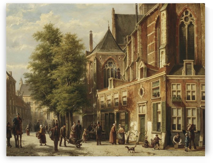 Numerous figures in a sunlit street near a church by Willem Koekkoek