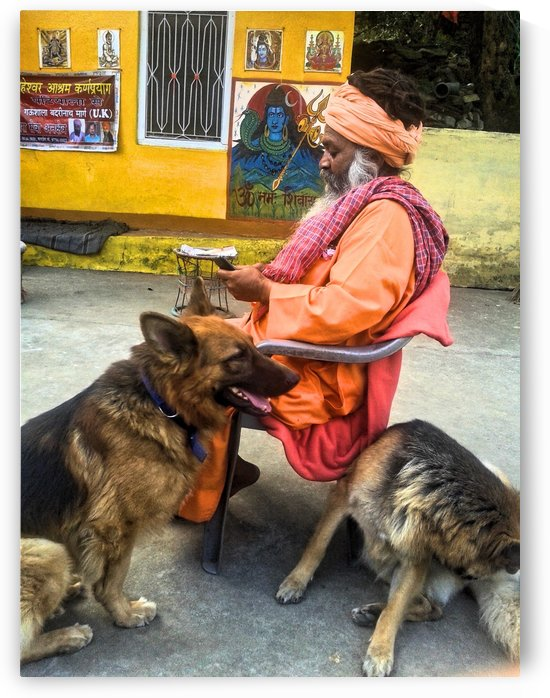Sadhu Holy Man and his Dogs by Gina Lafont