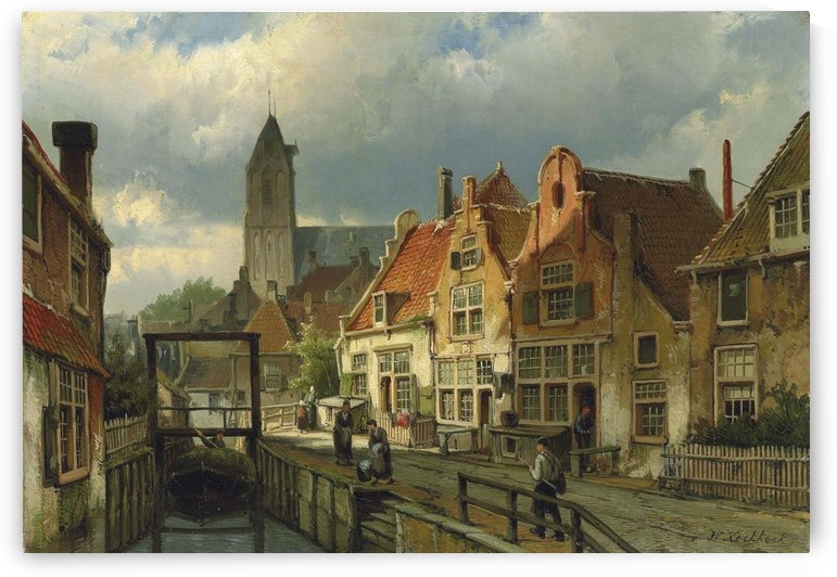 Figures on a Canal in Oudewater, Holland by Willem Koekkoek