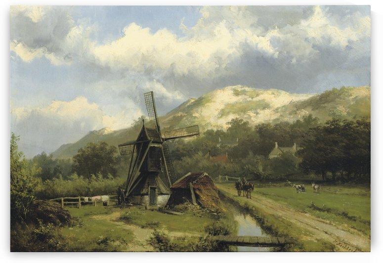 A windmill in a dune landscape by Willem Koekkoek