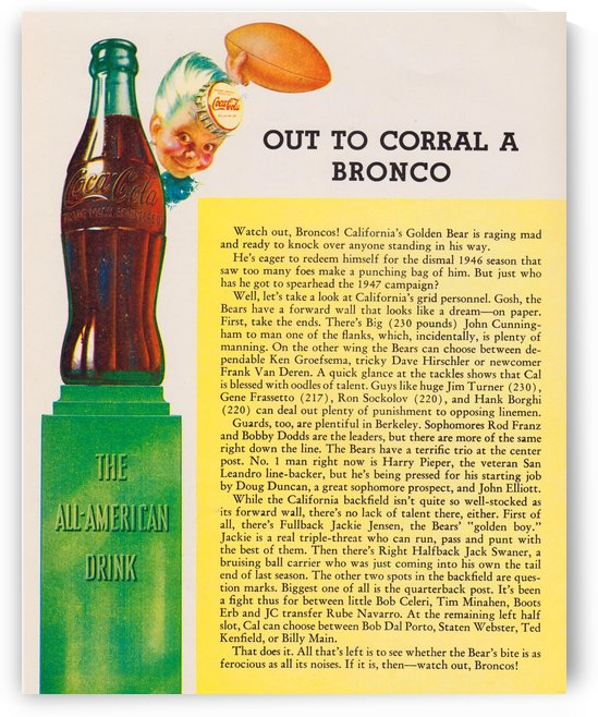 out to corral bronco coke ad cal bears football poster by Row One Brand