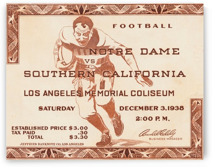 college footballs greatest rivalries usc notre dame game ticket stub 1938 college football by Row One Brand