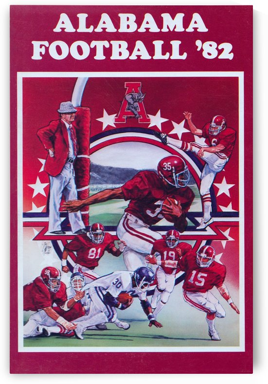 1982 alabama football crimson tide poster ted watts artist sports posters by Row One Brand
