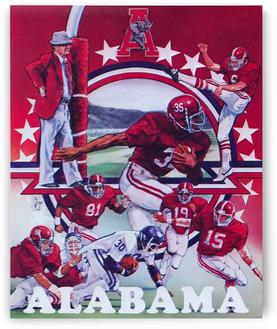 retro alabama football poster vintage college artwork by Row One Brand