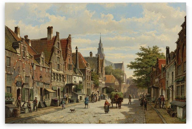 Dutch town street by Willem Koekkoek