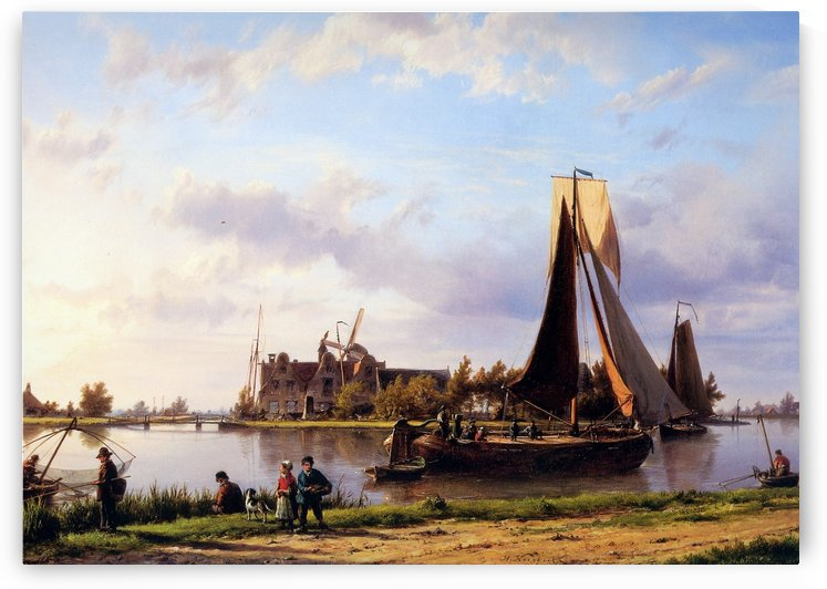 Ship sailing through canal by Willem Koekkoek