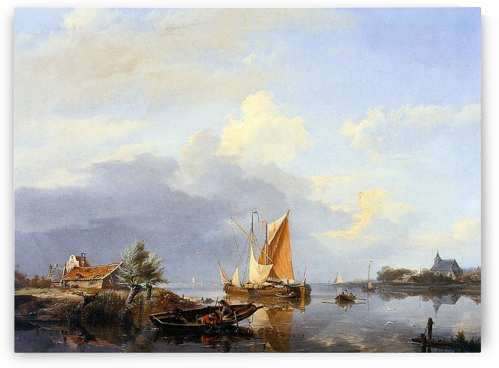 Dutch river landscape by Willem Koekkoek