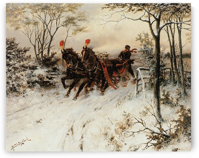 Behind the sledge by Willem Koekkoek