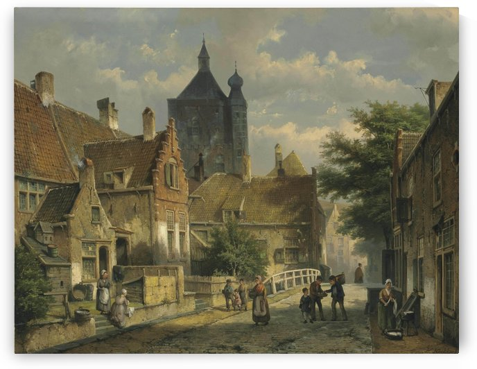 Villagers on a Sunlit Dutch Street by Willem Koekkoek
