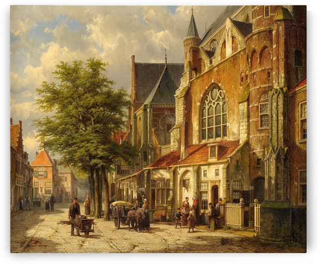 Dutch city street with church by Willem Koekkoek