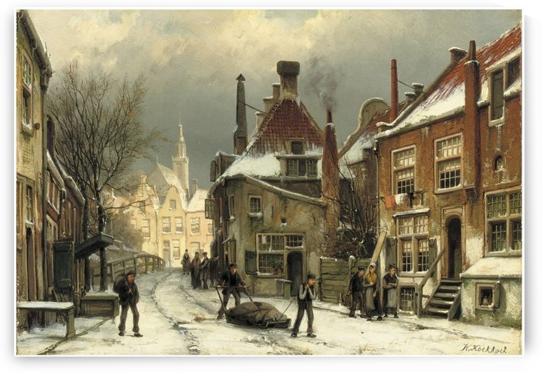 Villagers on a snow-covered street by Willem Koekkoek