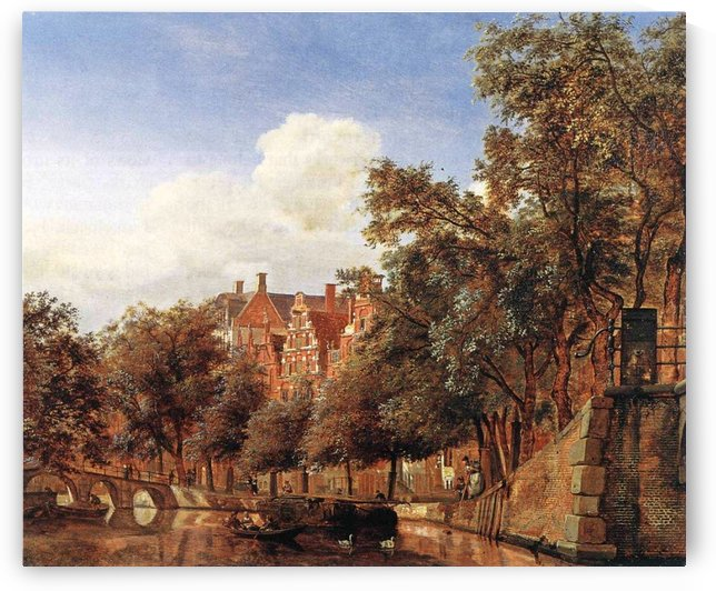 Along the canal by Willem Koekkoek