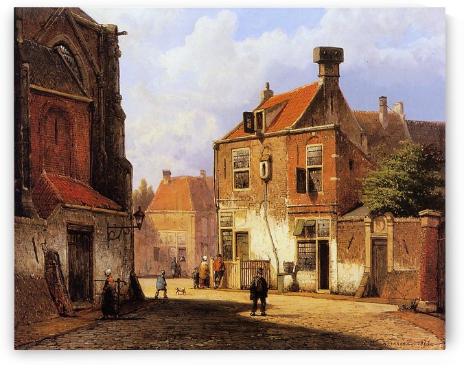 Walking on the street near church by Willem Koekkoek