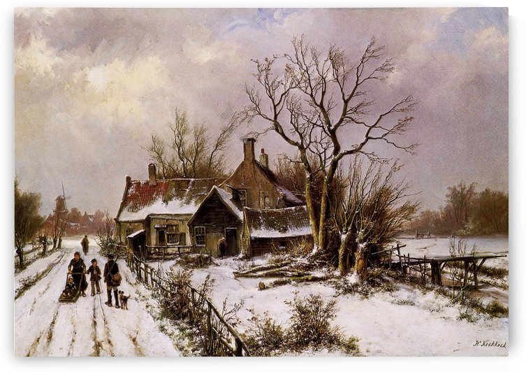 Winter in Dutch village by Willem Koekkoek