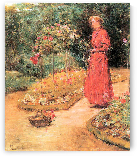Woman cuts roses in a garden by Hassam by Hassam